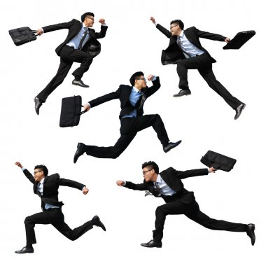 Happy business man jumping