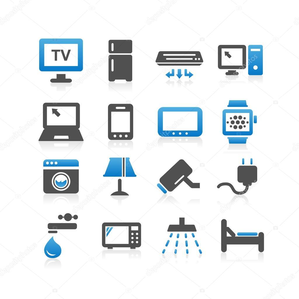 Zestaw ikon domowe urz dzenia elektryczne grafika for Internet house