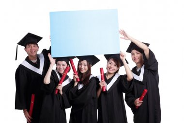 Students showing billboard