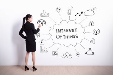 woman writing internet of things