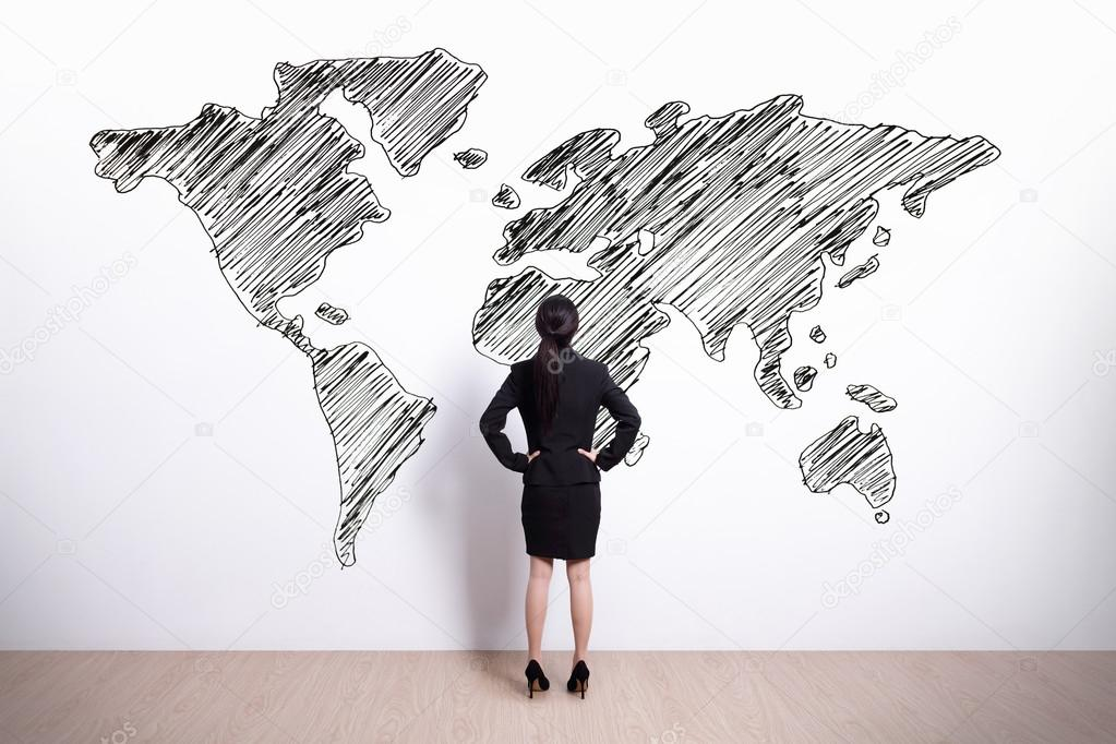 Business woman looking at world map stock photo ryanking999 back view of business woman looking at hand drawn world map photo by ryanking999 gumiabroncs Gallery