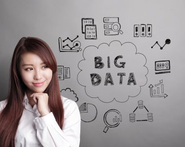 business woman look Big Data text