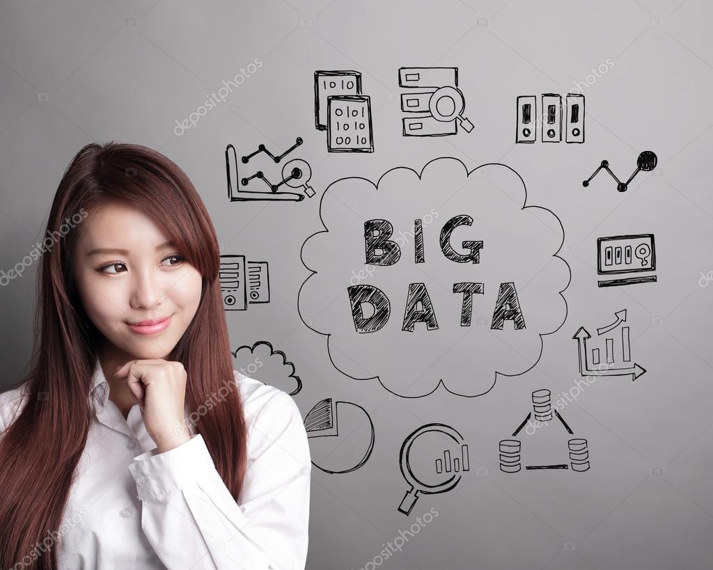 business woman look Big Data text