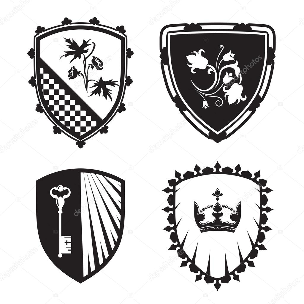 Coat of arms shield with crown key flowers stock vector for signs and symbols safety security military medieval based on and inspired by old heraldry vector by wertaw biocorpaavc Gallery