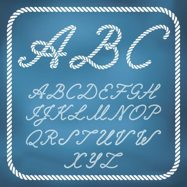 Letters made from nautical rope - hand written font clip art vector