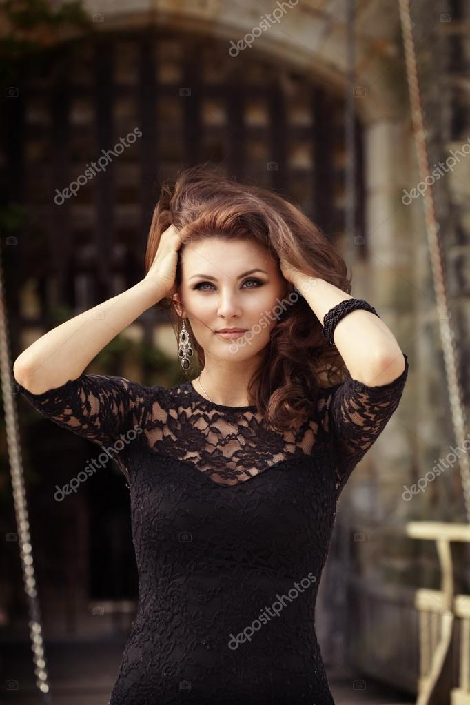 With Brunette black lace dress accept. The