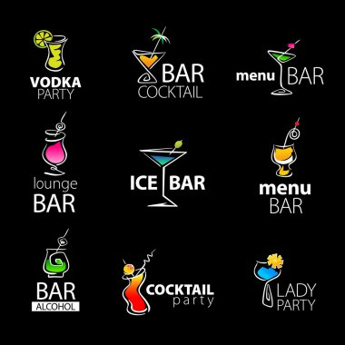 Set of the cocktail bar icons on a black background