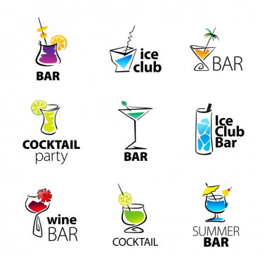 Set of the cocktail bar icons on a white background