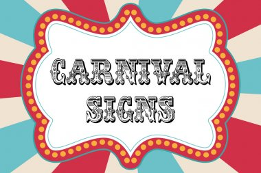 Carnival sign template with red and blue stock vector