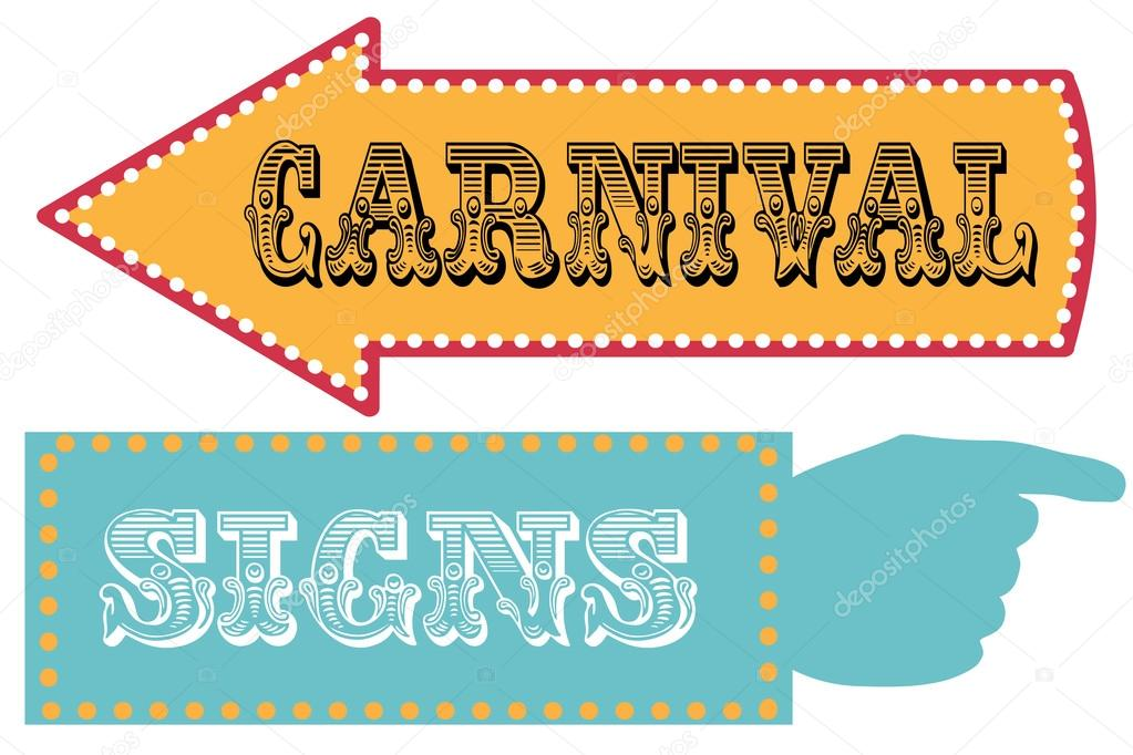 carnival sign template direction signs stock vector sjhuls 72629489