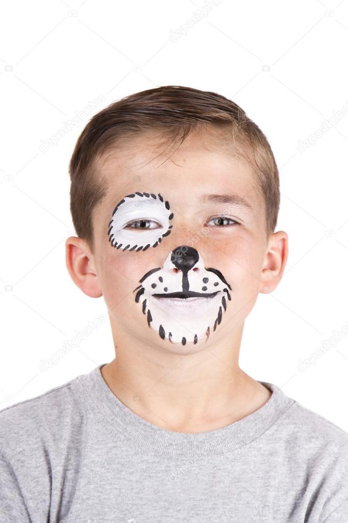 Young Boy Wearing Dog Carnival Face Paint Stock Photo C Sjhuls