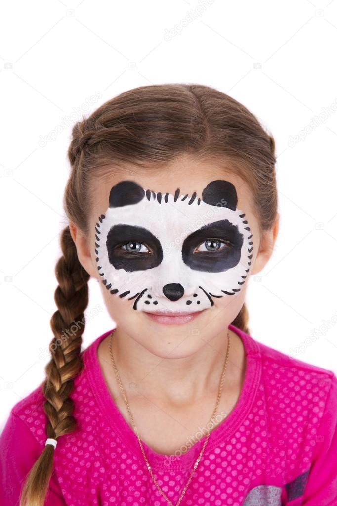Panda Karnaval Yüz Boyama üzerine Beyaz Izole Giyen Genç Kız Stok