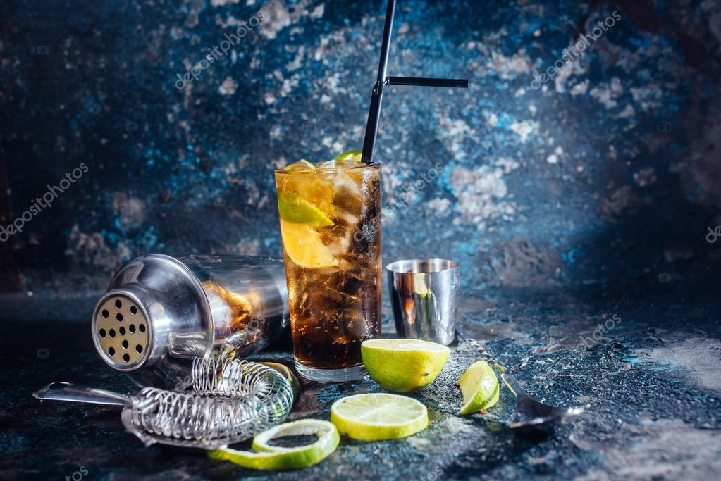 Cuba libre drink, alcoholic beverage with lime and ice served in restaurant and pub