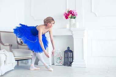 ballet dancer in blue tutu trainers in a light luxury interior