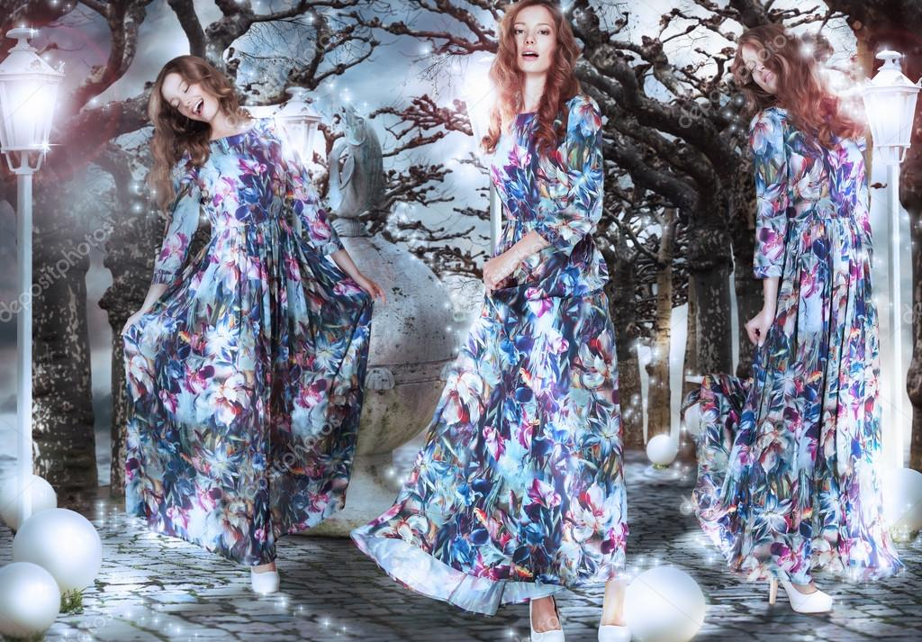 Inspiration. Fantasy. Women in Flowery Dresses among Trees