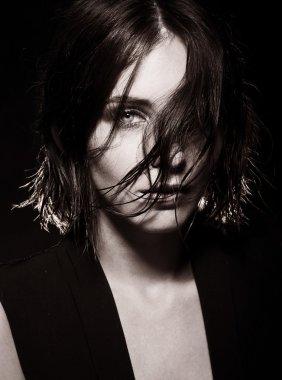 Vogue style photo of sensual woman.