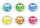 Sada zaoblené barevné tlačítka se symbolem kalendář