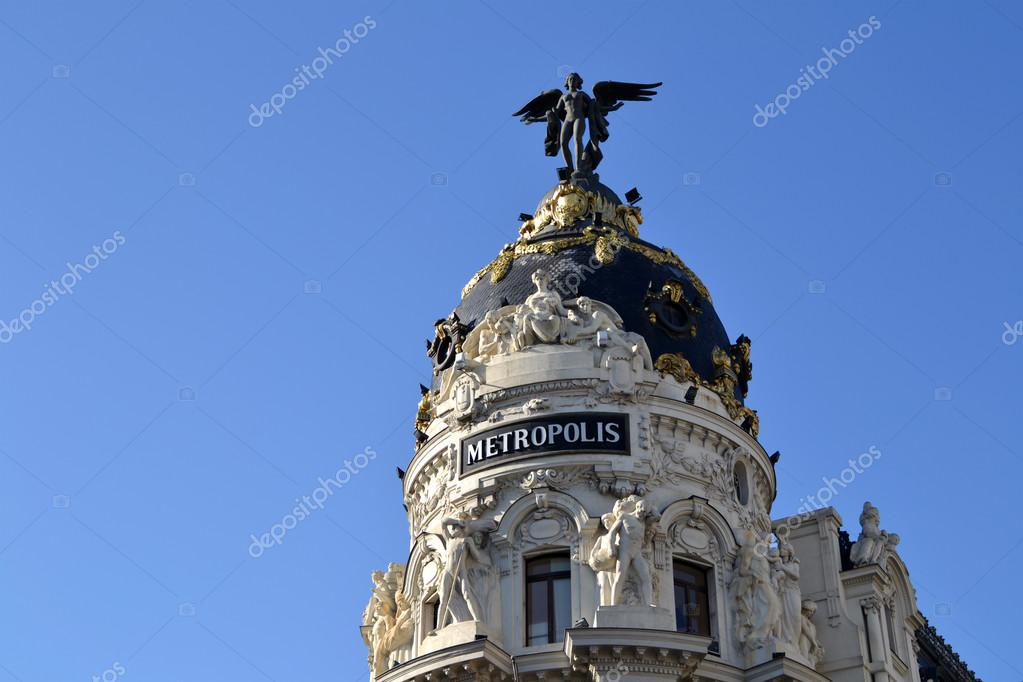metropolis building in madrid spain stock editorial photo