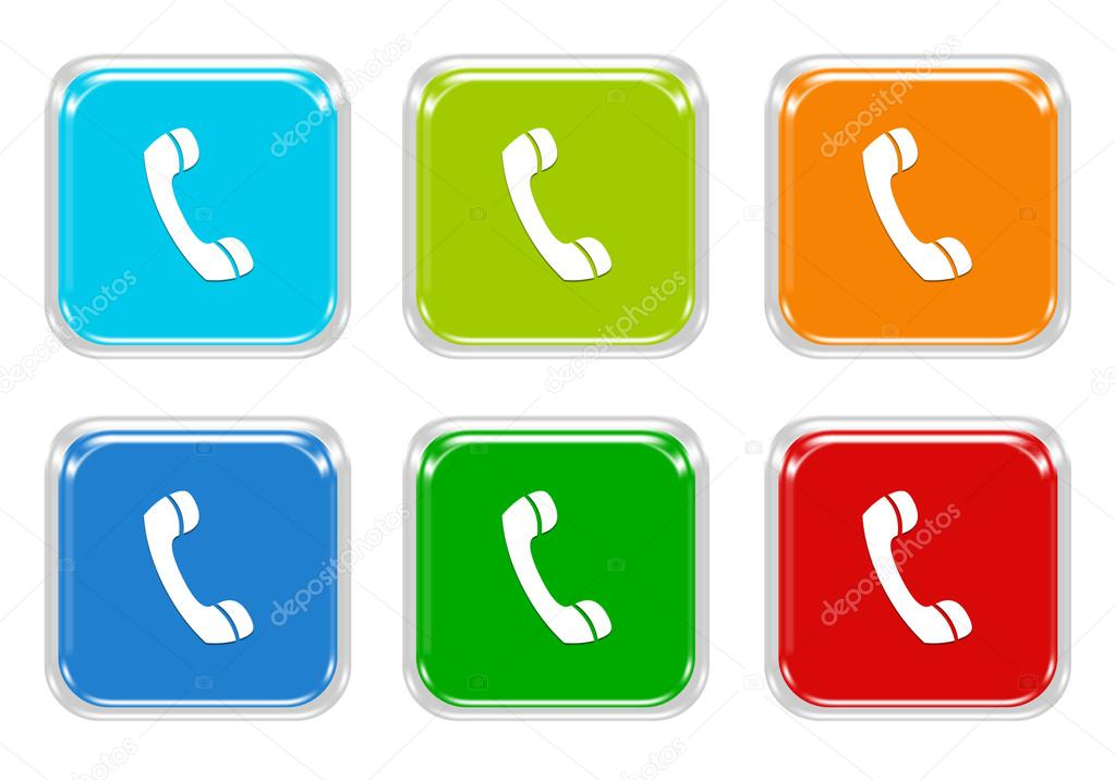 Set Of Squared Colorful Buttons With Phone Symbol Stock Photo