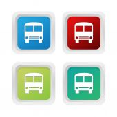 Sada čtverců barevných tlačítek symbolem autobusu