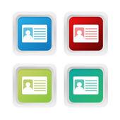 Sada čtverců barevných tlačítek symbolem identifikační průkaz