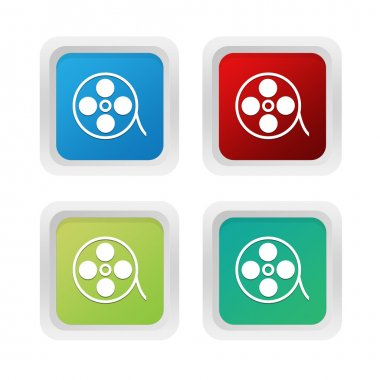 Set of squared colorful buttons with movie symbol