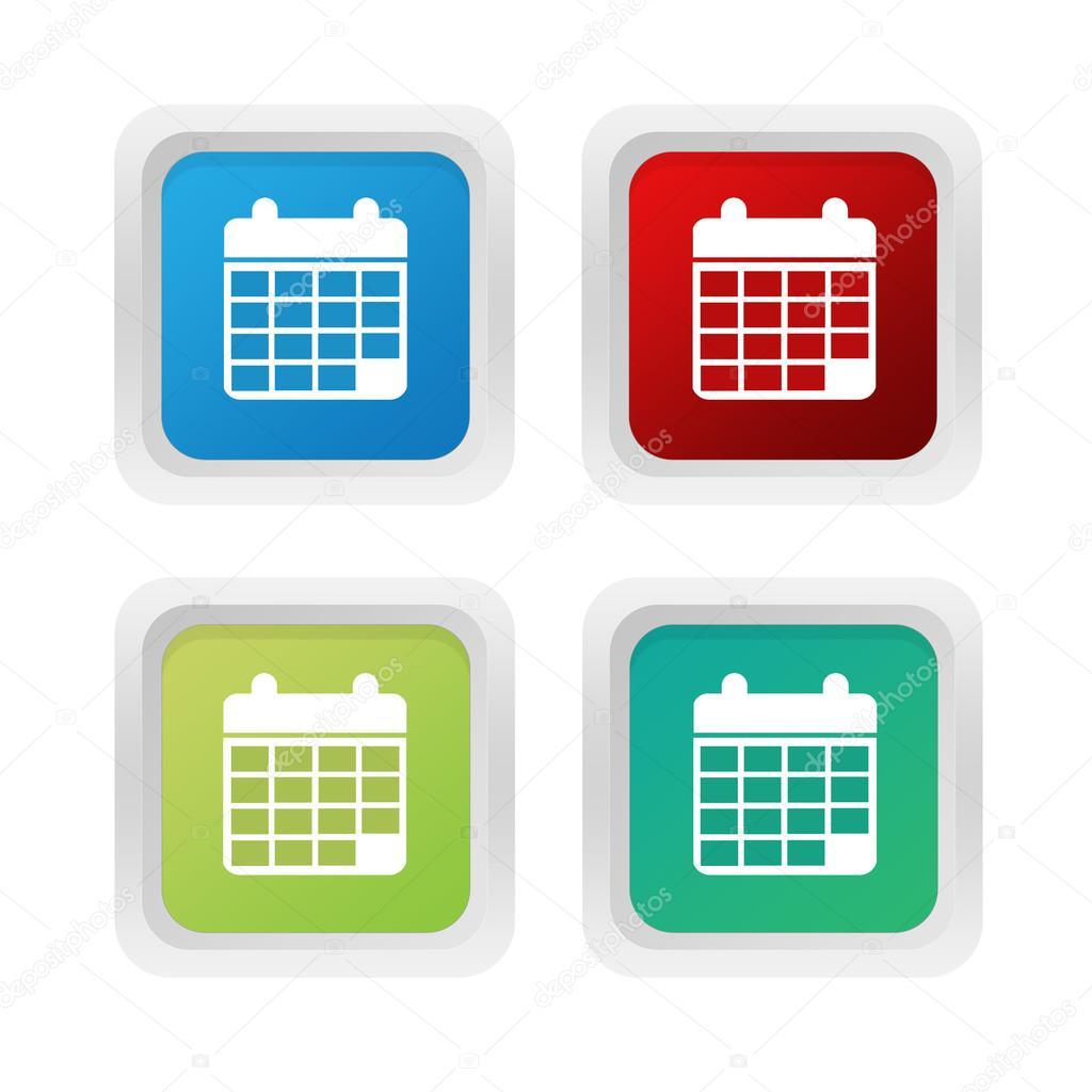 Simbolo De Calendario.Insieme Dei Tasti Quadrati Colorati Con Calendario Simbolo