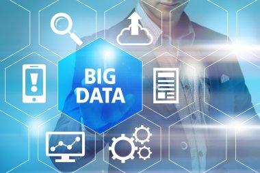 """Картина, постер, плакат, фотообои """"выбор человеком концепции больших данных и нажатие на символ больших данных """", артикул 72833357"""
