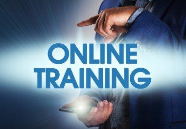 Businessman presses button online training on virtual screens. B