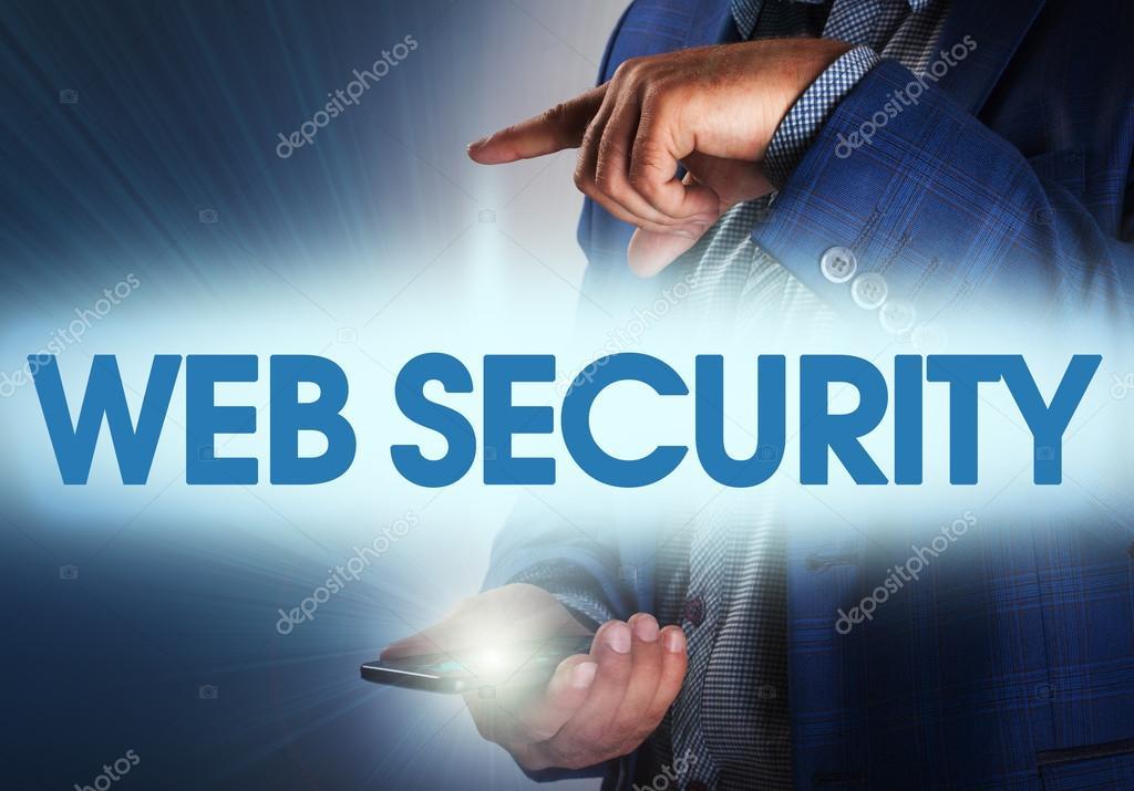 Businessman presses button web security on virtual screens. Busi