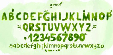 Alphabet set drawn green watercolor. Vector EPS10 clip art vector