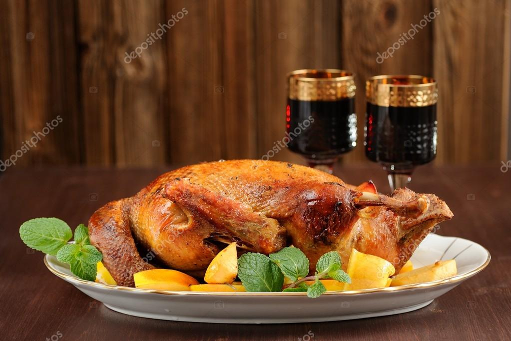 Roasted duck with quince, mint and red wine