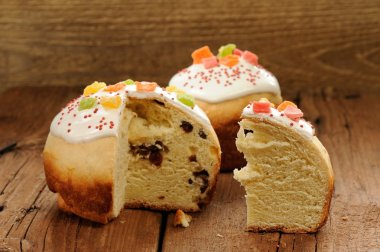 Kulich, Russian easter yeast sweet bread decorated with icing, c