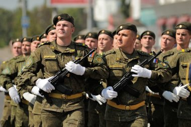 Orel, Russia - August 5, 2015: military men marching in parade i