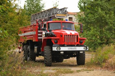 Orel, Russia - August 28, 2015: Russian fire engine in country r