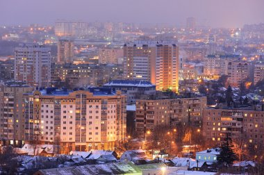 Evening city lights panoramic view, Orel, Russia