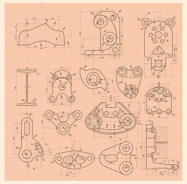 Set of schematic drawing any of parts machines