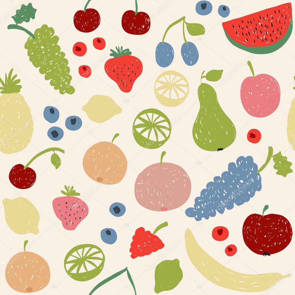 Doodle Früchte nahtlose Muster in retro-Farben — Stockvektor ...