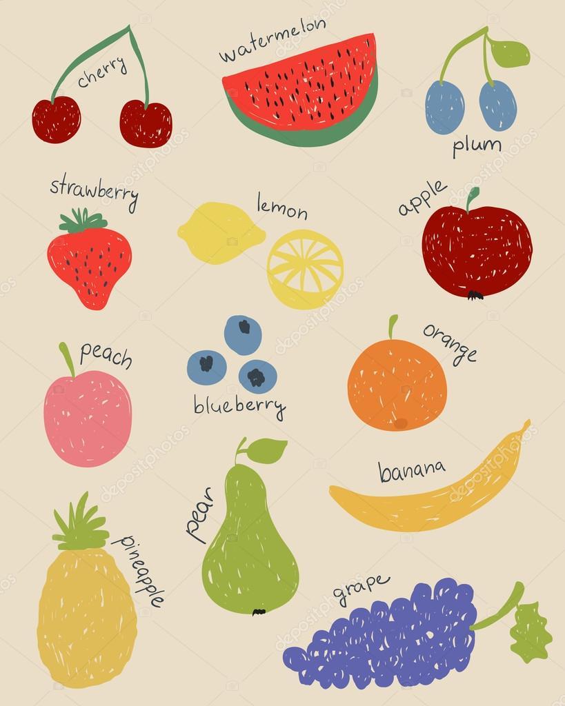 Doodle Früchte in retro-Farben — Stockvektor © kytalpa #53086575