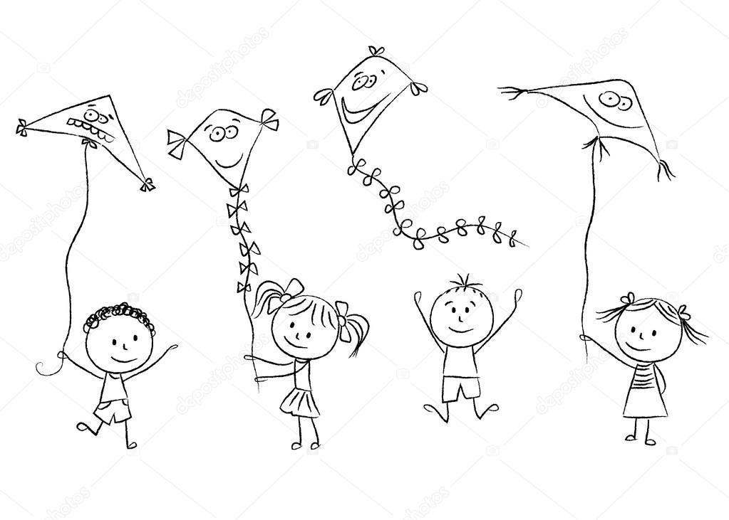 niños con cometas — Archivo Imágenes Vectoriales © kytalpa #53086643