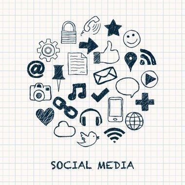 social media icons in circle