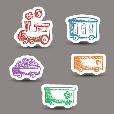 Train doodle stickers