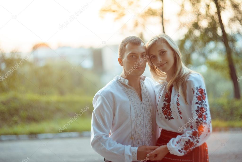 young romantic couple in Ukraine national clothing