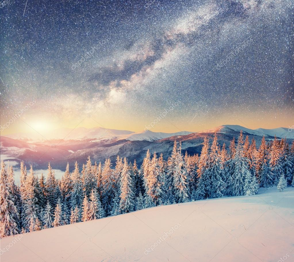 Image result for snowy night sky