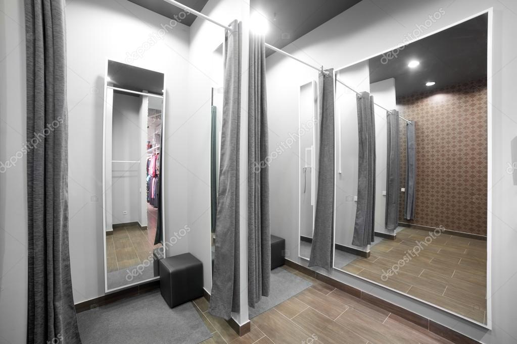 Interior of dressing room at cloth store stock photo for Dressing room interior