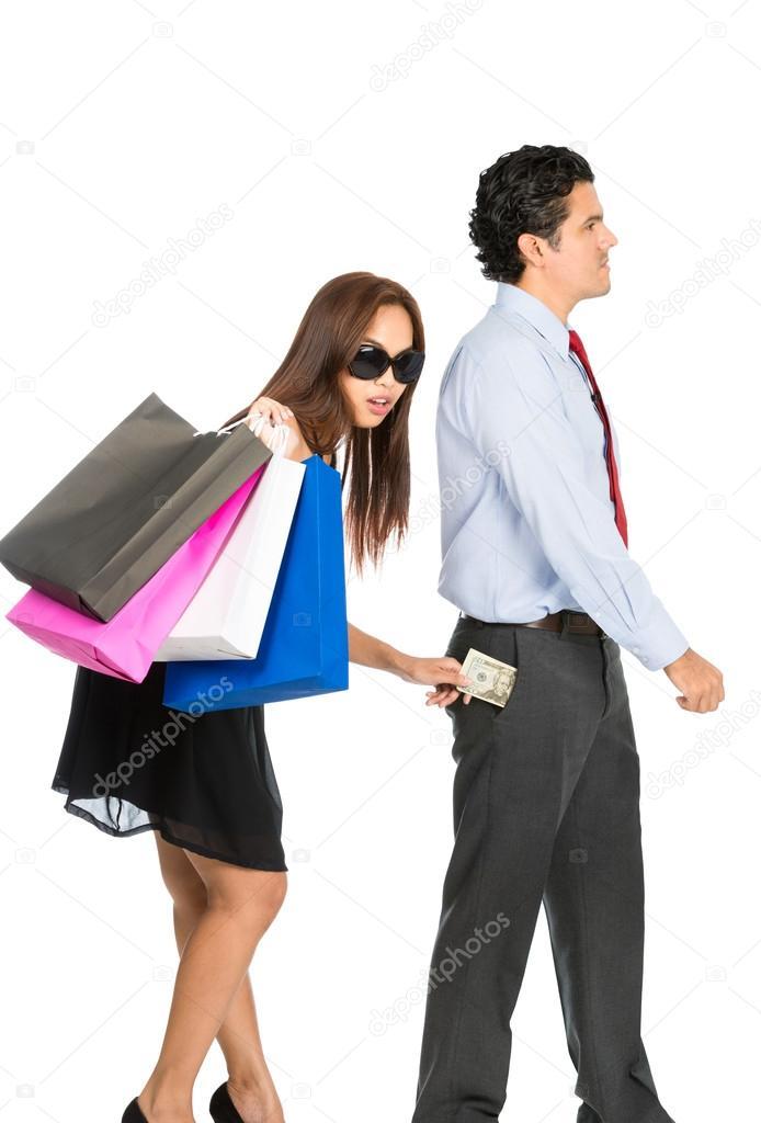 Asiatische Stehle asiatische frau stehlen geld mann pocket wandern stockfoto