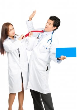 Angry Female Doctor Assaulting Male Colleague V