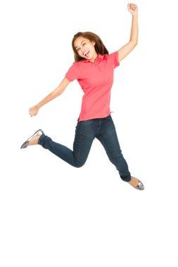 Extreme Celebration Jumping Asian Woman Fist Pump