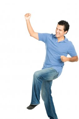 Fist Pumping Hispanic Male No Shoes Celebration