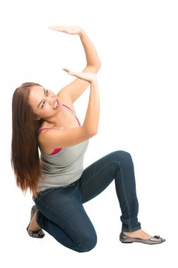 Woman Supporting Falling Object Above Pushing Up